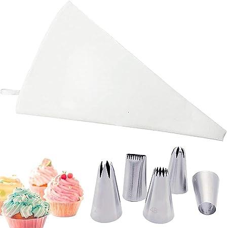 Blanc Douille Patisserie Poche à Douille Patisserie ,Réutilisable Résistant Coton Piping Bag avec 5 Pièces Becs Acier Inoxydable