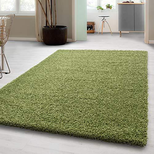 Hochflor Shaggy Teppich für Wohnzimmer Langflor Pflegeleicht Schadsstof geprüft 3 cm Florhöhe Oeko Tex Standarts Teppich, Maße:80x150 cm, Farbe:Grün