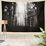 Summor Tapestry Black White Dark Woods Hanging Tapestries 60 x 80 inch Wall Hanging Decor for Bedroom Livingroom Dorm
