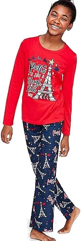 Justice Paris is Just a Sleigh Ride Away Pajama Set Red/Blue