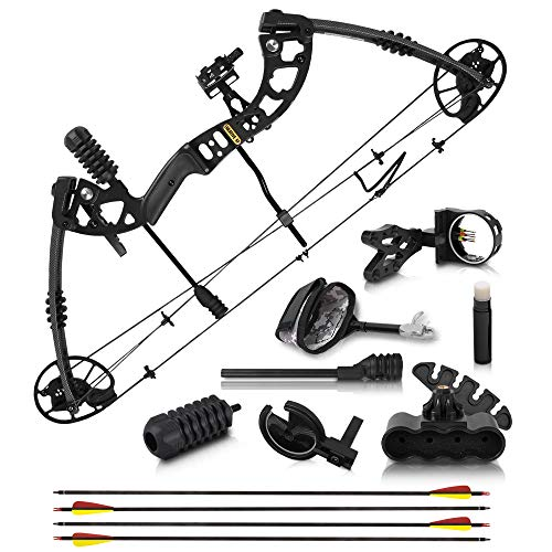 "2021 Compound Bow and Arrow for Adults and Teens – Hunting Bow with Gordon Limbs Made in USA - Fully Adjustable for Women and Youth 30-70 LBS, 23.5-30.5"" - 320 FPS Speed – 5-Pin Sight, Quiver - Left"