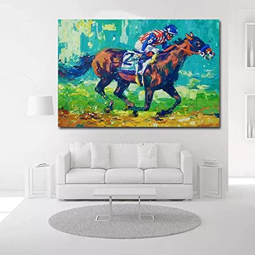 yunxiao Impresiones en Lienzo Lienzo Impreso Pintura al óleo impresión Hombre Montar a Caballo Carrera Abstracta Grueso hogar Decorativo Cuadro de Arte de Pared Imagen Mural Arte Decorativo