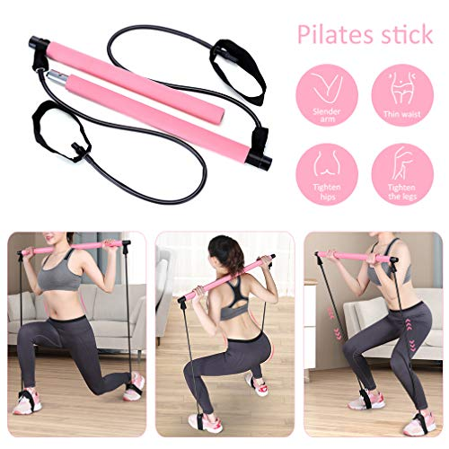 Pahajim Pilates Stick Bar Kit mit Widerstandsband Multifunktionale Yogastange mit Fußschlaufe Sportgerät Fitnessgeräte Brust-Expander (Rosa)