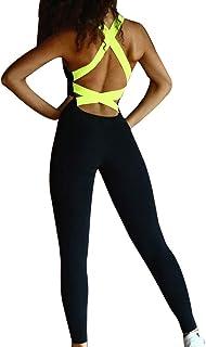 Femmes Combinaison Barboteuse Yoga V/êtement de Sport Couleur Unie sans Manches Salopette /À Bretelles Surv/êtement de Jogging Slim Ouvrir en Arri/ère Bodycon Combishort Justaucorps Noir Gris Vert Arm/ée