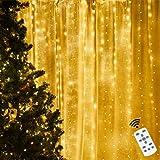 Guirnalda Luces, Cadena de Luces Cortina Luces Led con 8 Modos 3 * 3 M, Decoración para Navidad, Carnaval, Casa, Boda, Halloween y Todas Fiestas
