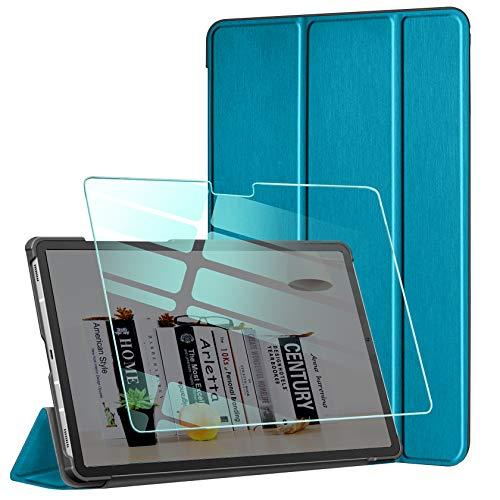 AROYI Custodia Cover Compatibile con Samsung Galaxy Tab A7 10.4 2020 con Vetro Temperato, Ultra Sottile Magnetica Custodia in Pelle PU Case con Auto Svegliati Sonno (SMT500 T505 T507), Blu Pavone