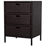 Outsunny 32' Poolside Rattan Wicker Patio Organizer Storage Cabinet with 3 Large Drawers & Weather-Fighting Materials