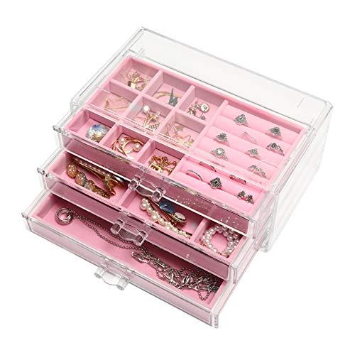 Joyero acrílico con 3 cajones para anillos, pendientes, pulseras, anillos, cadenas, joyero para mujer, color rosa