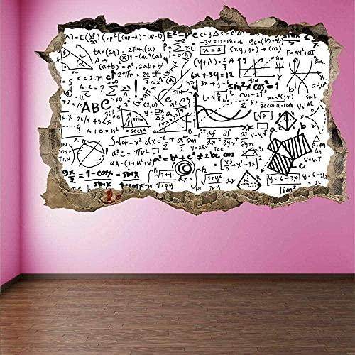 Matemáticas Fórmulas 3D Arte de la pared Etiqueta Mural Calcomanía Matemáticas Escuela Decoración mural cartel papel tapiz 60x90CM