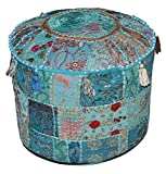 Aakriti Indian Pouf Footstool with Embroidery Pouf, Indian Cotton, Pouf, Ottoman Pouf...