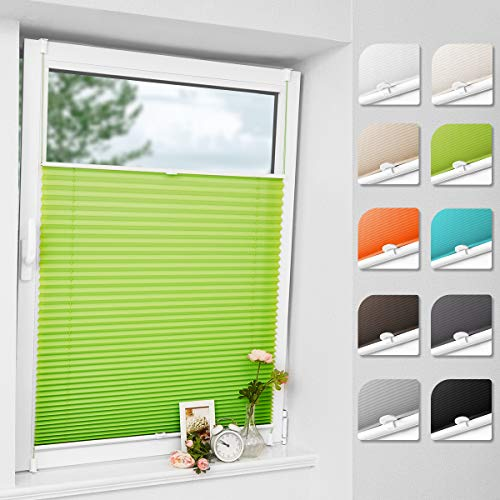 Bernice klemmfix Plissee ohne Bohren, Grün 100x130cm(BxH) klemmrollo mit Klemmträger, abdunkelnde Jalousien zum Klemmen, Blendschutz Fensterrollos für Fenster & Tür