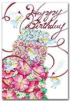水彩イラストポストカード「花のケーキ」バースデーポストカード