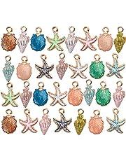 30 قطعة متنوعة سحر المعلقات جميلة مطلية بالذهب المينا الحياة البحرية شل نجم البحر محارة مختلطة لصنع المجوهرات