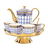 DHTOMC Recipientes Coffee Service Set Juego de Tazas de té de cerámica con Enrejado Dorado, Que Incluye una Taza de té 6 Piezas con Bandeja de té giratoria para la Boda de Porcelana cerámica
