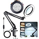 2-in-1 Magnifying Glass with Light and Stand, 8X Real Glass Magnifying Lamp with Stand 3 Color Modes 10 Stepless Dimmable Desk Magnifier for Close Work, Jewelry, Reading, Crafts, Hobby