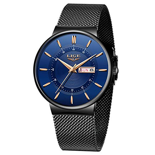 LIGE Männer Armbanduhr Wasserdicht Elegant Geschäft blau Analoge Quarz Herrenuhr Edelstahl Masche Kalendar Armbanduhr Männer
