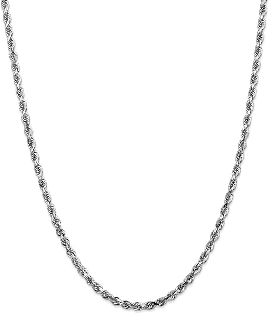 Chain Necklace 14K White Gold Rope Diamond-cut 24 in 4 mm 4mm Quadruple