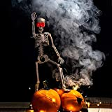 proxracer 36'' Halloween Skeleton Life Size, Sound Activated with Illuminated Eye for Halloween Prop Graveyard Decorations