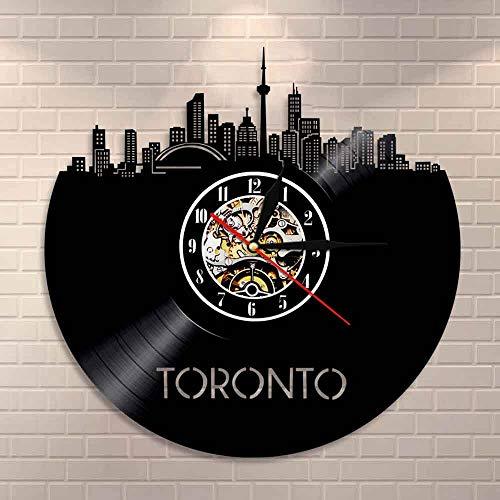 UIOLK Artista Colgante de Pared decoración del hogar Reloj de Pared Canadá Paisaje de la Ciudad Reloj de Disco de Vinilo Regalos de Canadá Reloj de decoración de Viaje de Canadá
