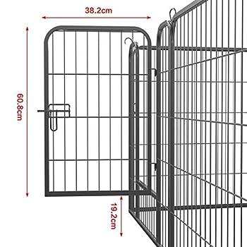 Yaheetech Parc pour Chiens 24 Panneaux 80 cm H Enclos pour Chiot Rongeur Lapin Animal de Compangnie en Métal avec 3 Portes