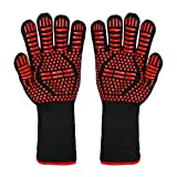BBQ Grill Gloves, 1472°F Extreme Heat Resistant Non-slip Silicone Insulated Oven Mitts for Outdoor...