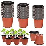 Mengger 150Pcs Macetas de Plástico Pequeña Mini Macetas para Plantas Vivero Suculento Guardería Macetas Plantas Contenedores Semillas para Boda Navida 11cm 10 cm 9cm