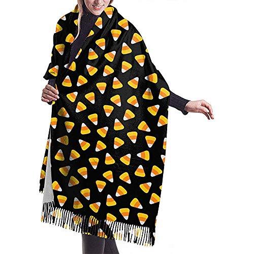 wusond Candy Corn Happy Halloween chales de cachemira para mujer envuelve bufandas con borlas para otoño invierno