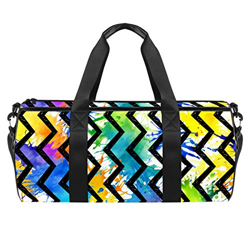 Watercolor Painted Spots Rainbow Chevron Background Duffel Shoulder Carry Bag Canvas Travel Bag for Gym Sports Dance Travel Weekender