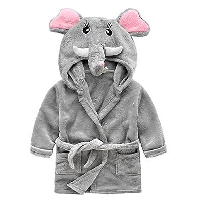 Unisex Kids Hooded Terry Robe Cute Cartoon Animal Coral Fleece Bathrobe Children's Pajamas Sleepwear Baby's Hoodie Bath Towel Soft Plush Shawl Wrap for Girls Boys