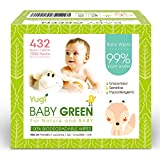Baby Green Biodegradable Baby Wipes Unscented  (6 Packs of 72) 432  compostable 99% Pure Water Plastic Free Moist Newborn Diaper Wipes Fragrance Free, Wet Wipes for Babies & Adults Sensitive Skin