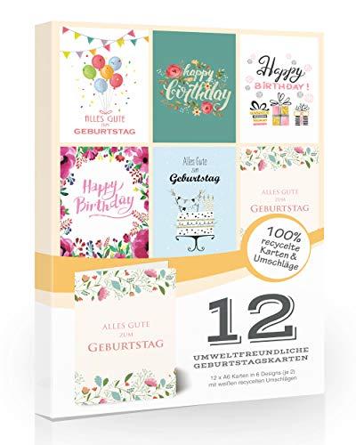 12er-Pack umweltfreundliche Geburtstagskarten & Umschläge von Olivia Samuel ™. Schnäppchen-Pack von Geburtstagskarten auf 100% recyceltem Papier. 6 Designs.
