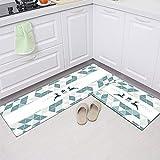 HLXX Alfombra de Cocina geométrica Moderna Entrada de baño Felpudo Antideslizante Dormitorio Baño Sala de Estar Felpudos Alfombras Lavables A6 40x60cm + 40x120cm