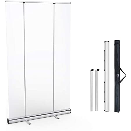 Floor Standing Sneeze Guard Freestanding Sneeze Guard Floor Standing Roll Up Clear Shield Size : 100200cm Sneeze Guard with Clear Film Protective Shield for Pharmacies Dentists Waiting Room