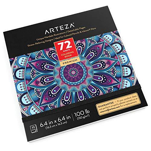 Arteza Mandala Malbuch für Erwachsene, Ausmalbuch mit 72 Mandalas für Erwachsene & Teens, 150g/m², 16.25 x 16.25 cm, Anti Stress & Entspannung, abnehmbare Seiten, schwarze Konturlinien