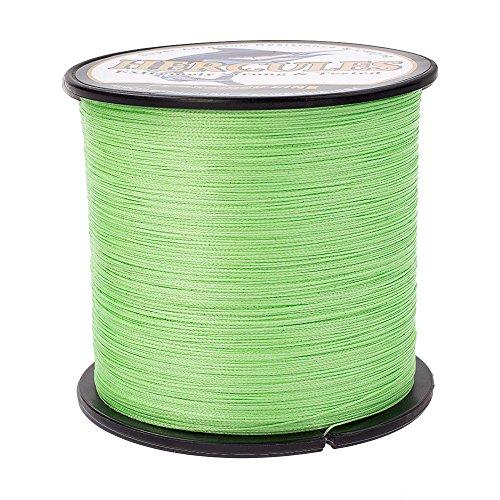 HERCULES Braided Fishing Line 2000m 2187yds 6lbs-100lbs Pe Superline 4 Strands (Fluorescent Green 30lb/13.6kg 0.28mm)