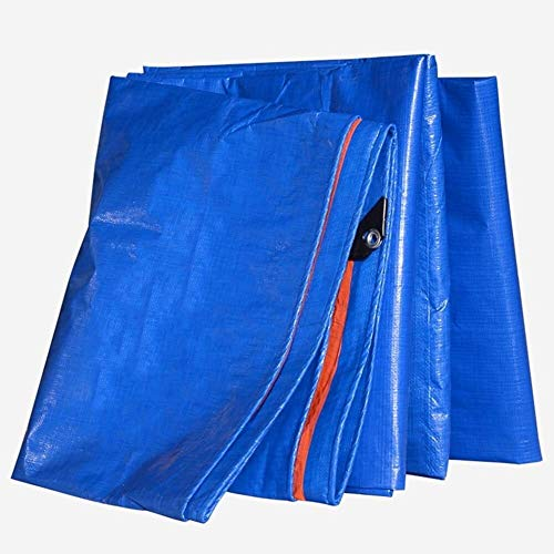 YUEDAI Thicken Rainproof Tarpaulin Tarp Shelter Ground Sheet Covers Tent Awning Shed Cloth Heavy Duty Reinforced, Multi Sizes, 180G/M² (Color : Blue+Orange, Size : 3x6m)