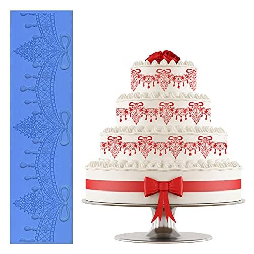 Heiqlay Pizzo stuoia Torta Stampo Fondente in Silicone Torta Decorata Rilievo Ciondolo depoca, Bordo in Pizzo Grande Tenda, Decorazione della Torta del Rilievo del Pizzo, 40x10x0.25 cm