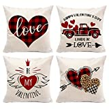 Hexagram Valentines Day Pillow Cover 18x18 inch Set of 4,Red Heart Throw Pillow Cover Farmhouse Linen Valetines Deocrations for Home Outdoor Indoor Decor