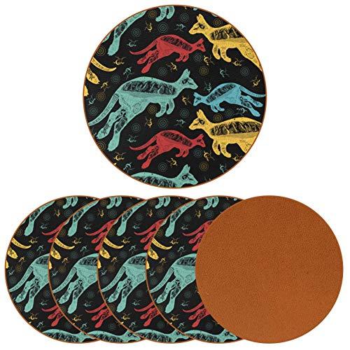 BENNIGIRY Patrón de Canguro de Australia Vintage Posavasos de Cuero Tapetes Redondos Resistentes al Calor para Tazas Taza de café Tapetes Individuales para Tazas de Vidrio, 6 Piezas