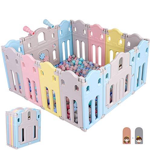 Birtech Laufgitter Laufstall Baby Absperrgitter Schutzgitter Krabbelgitter mit Tür und Spielzeugboard mit Spielzeugteleskop 14-Paneele Farbiger Schloss Laufstall