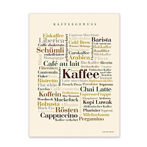 Leinwand Kaffee Wörter, Tagcloud mit Begriffen rund um den Kaffee. Eine originelle Wanddekoration und schöne Geschenkidee - Keilrahmen 50x70 cm