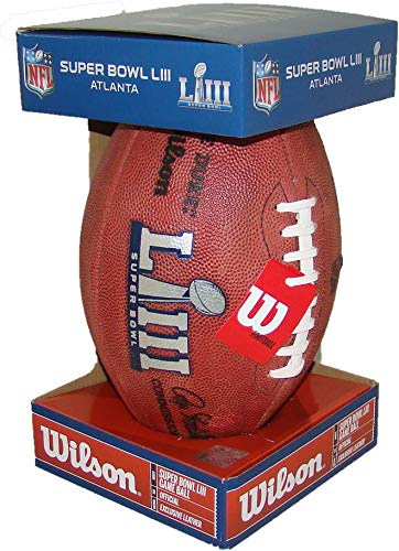 NFL Super Bowl LIII 53 Authentic Official Game Football (Boxed) with Rams & Patriots Names Inscribed on Ball