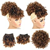 Afro Puff Drawstring Ponytail with 2 Bangs Afro High Puff Bun with Spring Curl Bangs and Afro Puff Bangs Clip in Hairpieces Pineapple Updo Ponytail with Bangs(T1B/30)