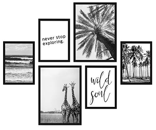 POSTORO Stilvolles Wohnzimmer Poster Set, 6 harmonisch aufeinander abgestimmte Bilder ohne Rahmen, 2 x DIN A3 + 4 x DIN A4 (Wild Soul)