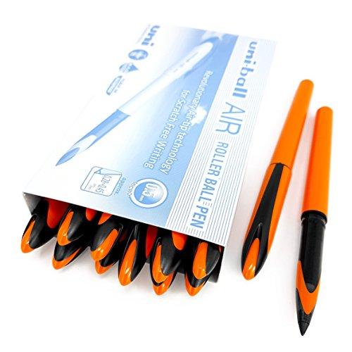 Uni-Ball AIR Micro - Penna roller fine 0,5 mm, inchiostro blu, fusto arancione, confezione da 12