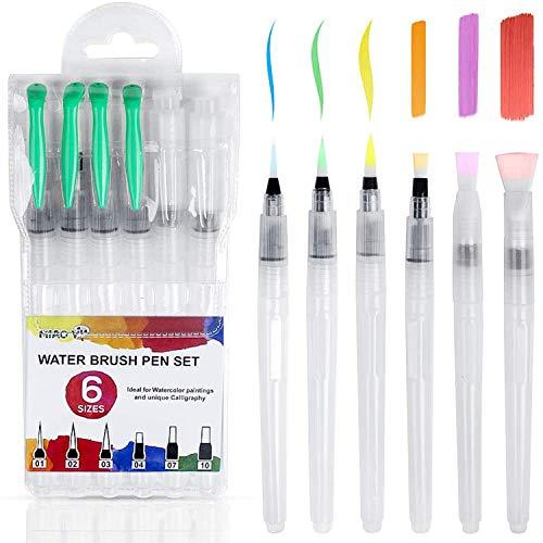 Comius Sharp Pluma de pincel de acuarela para pintar, 6 piezas, autohumectante, recargable, pincel de agua para colorear, pintar, letras de caligrafía