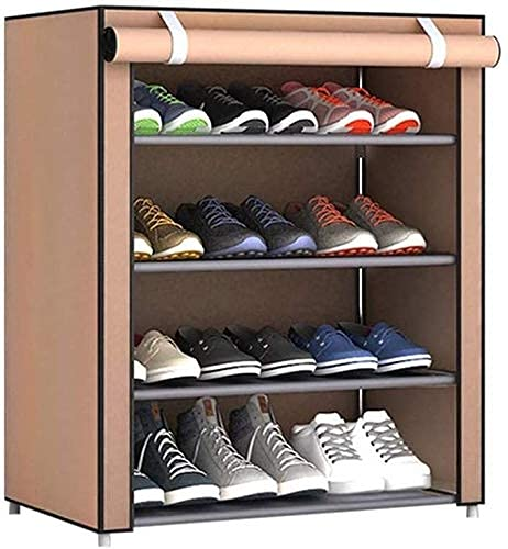 GQQ Hgdd 4 Tier Shoe Rack with Cover 12 Pair Shoe Storage Organizer,23.6X11.8X28.3 in Shoe Shelf/Marrón