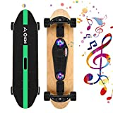 SANSIRP 31 Inch Complete Skateboard Double Kick 7 Layer Wooden Cruiser Skateboards with Bluetooth Speaker/Micro SD Card for Teens Adults Beginners Girls Boys Kids