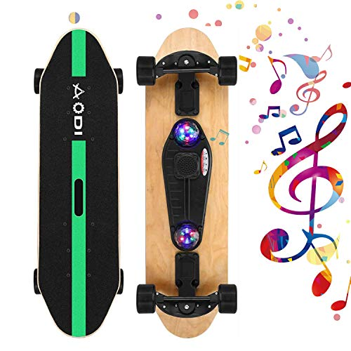 SANSIRP 31 Inch Complete Skateboard Double Kick 7 Layer Wooden Cruiser Skateboards with Bluetooth Speaker/ Micro SD Card for Teens Adults Beginners Girls Boys Kids