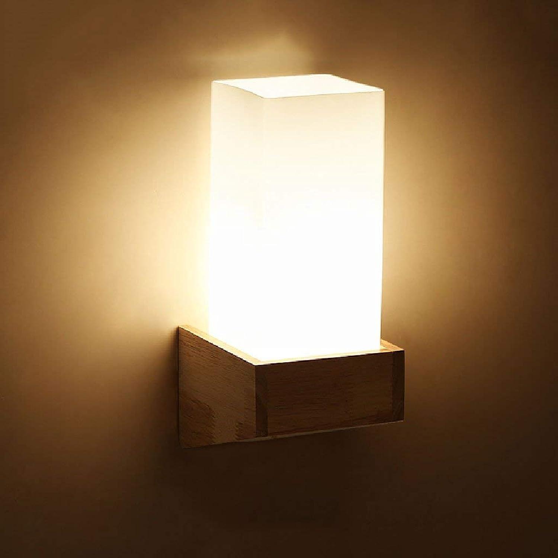SPA  Kreative Massivholz-Glas-Nachttischlampe Modernes einfaches Wohnzimmer beleuchtet japanische hlzerne Wandlampe hoch  11,02 Zoll E27